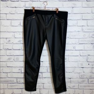 """Massimo """"leather"""" pants with hardware accents"""